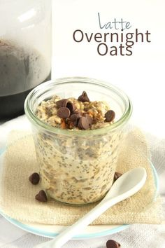 Latte Overnight Oats (I will skip the sugar and choc chips. But I will add crystalized coffee to milk and skip the cold coffee.)