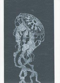 Jellyfish Linocut on Japanese Paper - Handprinted Jellyfish Lino Block Print by minouette now at http://ift.tt/1qkBhr2