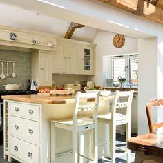 Open-plan cream kitchen