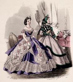 So recently I've started taking more of an interest in the wonderful wide skirts of the 1860s. I searched up some fashion plates, and they are so very pretty! Have a look: Which one is your f…