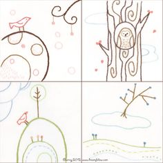 Set of 4 Bird and Tree Embroidery PDF Patterns series 1