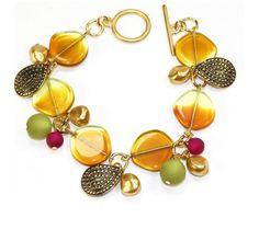 Sunshine Bracelet Kit - Beads & Beyond - topaz ambar disc + Gold Leaf Shaped Orient Charm + contas polaris Leaf Shapes, Amber Glass, Metal, Topaz, Sunshine, Jewelry Design, Jewelry Making, Gems, Jewellery