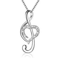 Music Note Necklace Sterling Silver Pendant Chain 925 Women Diamond Heart for sale online