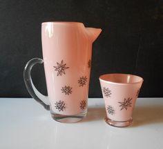 Rare Vintage West Virginia Pink Glass Retro Pitcher & Tumbler Atomic Stars   eBay
