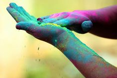 colour powdered hands @ Holi
