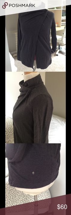 Lululemon beautiful soft charcoal wrap jacket M, L Soft and beautiful. Great condition this jacket drapes just right and can be worn several ways. I think this is a 10 or 12 but I have searched for the  tag to confirm and I can't find one 🙄, I do think this style could fit a variety of sizes. lululemon athletica Jackets & Coats