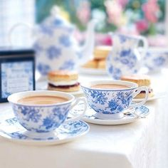dainty blue & white floral teacups