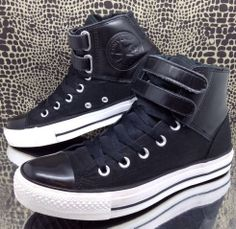 Converse All Star High Top PC 2 Strap Boot Sz 6 Black Leather Nylon Mens  Womens bb4c2f5dd
