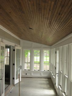 Resawn White Oak Beadboard, Montana Reclaimed Lumber Co. Previous Post Next Post Small Sunroom, Sunroom Office, Screened Porch Designs, Screened Porches, Front Porch, Sunroom Decorating, Enclosed Porch Decorating, Sunroom Ideas, Porch Ideas