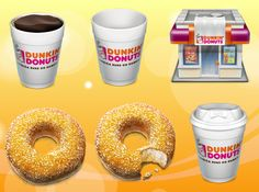 Nice detailed Dunkin Donuts icons