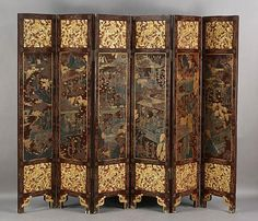 589: ANTIQUE CHINESE 6 PANEL FOLDING SCREEN : Lot 589
