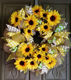 This is a 24 sunflower deco mesh wreath made with burlap style and yellow mesh. It is accented with matching ribbons and sunflowers ALL custom wreaths and hand painted glassware ships in approximatel Wreath Crafts, Diy Wreath, Wreath Ideas, Tulle Wreath, Deco Mesh Wreaths, Holiday Wreaths, Burlap Wreaths, Ribbon Wreaths, Summer Wreath