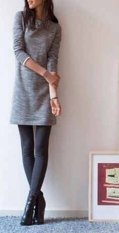 Try throwing on the LOFT Ponte Pant under your favorite sweater dress for some extra warmth on these chilly mornings. Try throwing on the LOFT Ponte Pant under your favorite sweater dress for some extra warmth on these chilly mornings. Legging Outfits, Grey Leggings Outfit, Sweater Dress Outfit, Dresses With Leggings, Sweater Dresses, Sweater Dress With Leggings, Winter Leggings, Comfy Sweater, Gray Dress Outfit