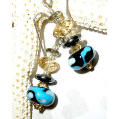 DROP EARRINGS, HANDCRAFTED Lampwork Earrings, Lampwork Hematite... (€13) ❤ liked on Polyvore featuring jewelry and earrings
