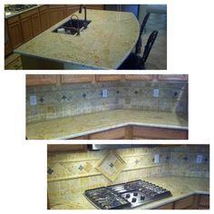 Beautiful Kashmir Gold Granite and tile backsplash. Stonehenge takes pride in all of our work. Condo Remodel, Kitchen Remodel, Granite Tops, Custom Kitchens, Stonehenge, Backsplash, Tile, Beautiful, Ideas