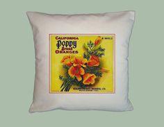 California Poppy Brand Oranges Vintage Label Pillow Slip, Handmade, 16x16 by WhimsyFrills