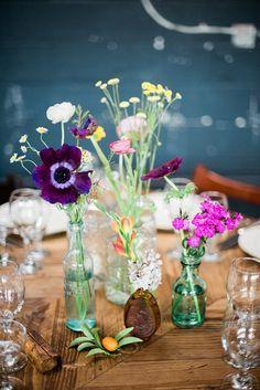 wildflower centerpieces - photo by Christina Lilly http://ruffledblog.com/los-angeles-foodie-wedding