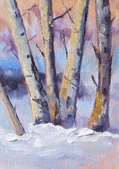 Winter Trees Landscape Painting by Nancy Merkle; Original and Fine Art Reproductions