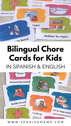 Printable chore cards in Spanish and English for kids. Choose your favorite style and grab a free printable 2019 calendar in Spanish, along with bilingual chore cards for kids! Teaching French, Teaching Spanish, Spanish Activities, Preschool Spanish, Spelling Activities, Spanish Teacher, Translate To Spanish, Learn To Speak Spanish, German Language Learning