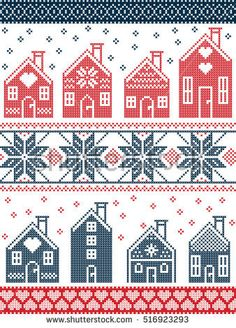 Seamless Scandinavian style and Nordic culture inspired Christmas and festive wi. Seamless Scandinavian style and Nordic culture inspired Christmas and festive winter pattern in cross stitch style with . Cross Stitch House, Cross Stitch Borders, Cross Stitch Charts, Cross Stitching, Cross Stitch Embroidery, Cross Stitch Patterns, Nordic Christmas, Christmas Cross, Christmas Embroidery