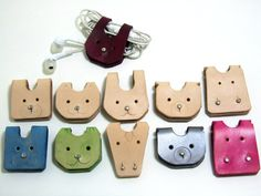 Cable organizer leather cord holderAnimal shapes kids by LeatherRK