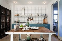 Kitchen with blue doors