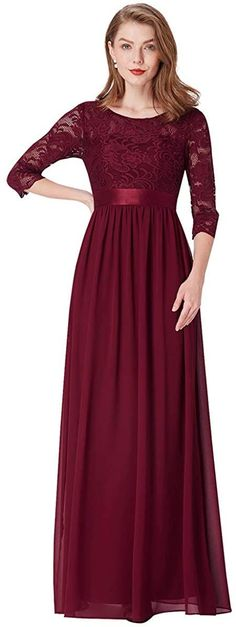 Ever-Pretty Women's Round Neck 3/4 Sleeves A Line Empire Waist Lace Elegant Maxi Bridesmaid Dresses 07412: Amazon.co.uk: Clothing Fall Dresses, Evening Dresses, Girls Dresses, Prom Dresses With Pockets, Burgundy Bridesmaid Dresses, Ever Pretty, Affordable Dresses, Fit Flare Dress, Women's Fashion Dresses