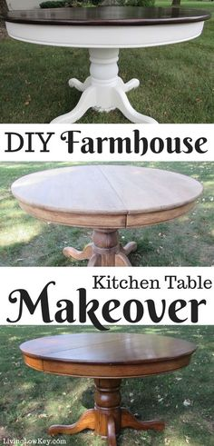 this amazing step by step kitchen table makeover. If you are looking to makeover your kitchen table with chalk paint you ll love this DIY Farmhouse kitchen table tutorial. Refinishing Kitchen Tables, Painted Kitchen Tables, Kitchen Table Makeover, Farmhouse Kitchen Tables, Painted Farmhouse Table, Farmhouse Kitchens, Modern Farmhouse, Chalk Paint Table, Chalk Paint Kitchen