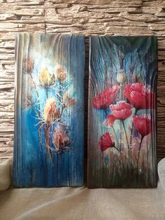- World decoupage - Pallet Painting, Pallet Art, Tole Painting, Painting On Wood, Painting & Drawing, Art Floral, Painted Boards, Driftwood Art, Wood Wall Art