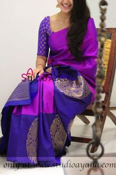 Purple and Violet mutually complimenting their uniqueness with bold motifs. Kailasha, elegant masterpiece for the classy Soft Silk Sarees, Indian Blouse, Indian Gowns, Indian Wear, Saree Color Combinations, Mode Bollywood, Bridal Silk Saree, Saree Wedding, Indian Outfits