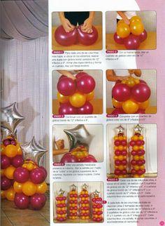 Balloon decoration magazine – Free craft magazines - New Deko Sites Balloon Columns, Balloon Arch, Balloon Garland, Unicorn Birthday Parties, Diy Birthday, Birthday Balloons, Safari Decorations, Balloon Decorations Party, Birthday Centerpieces