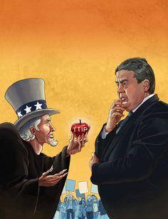 Art by Daniel Garcia - TTIP (CETA, USA, Canada, Germany, Trade, Agreement, Stop, Man, Politics, Apple, Sigmar Gabriel)