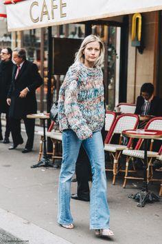 Cozy sweater denim jeans street style paris