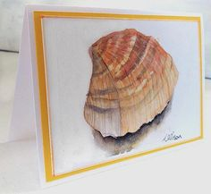 Seashell Greeting Card Hand Painted Blank Card Cockle Shell
