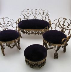 Vintage Dollhouse Miniature Bent Tin Furniture Handmade Gold And Purple