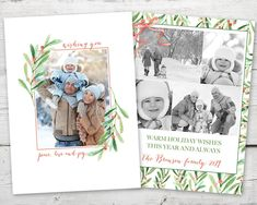 Items similar to Holly Wishes Holiday Christmas Photo Card, Christmas Photo Cards PRINTABLE, Multiple Photo Holiday Cards, Photo Cards Christmas on Etsy Christmas Photo Cards, Christmas Photos, Christmas Holidays, Holiday Wishes, Holiday Cards, 2nd Birthday Invitations, Printable Cards, Christmas Printables, Xmas Pics