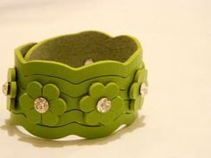 Green Flower Leather Bracelet Leather Cuff by JewelryForWoman, $15.00