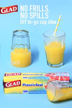 Easy at-home hack! Turn any cup into a travel cup in seconds. Simply seal Glad Press'n Seal over any cup (seals to glass, plastic, metal & wood) then poke a straw through the top and voila! You're out the door, avoiding spills in the back seat of the car, at a restaurant, on the playground or wherever the day takes your family. Keep an eye out for us in your local grocery store!