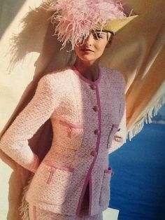Chanel Suit in Pink and Creme Documented   From a collection of rare vintage suits, outfits and ensembles at https://www.1stdibs.com/fashion/clothing/suits-outfits-ensembles/