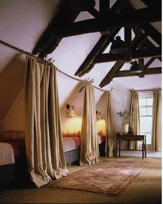 My kind of bunk room--curtains for privacy and not a ladder in sight!