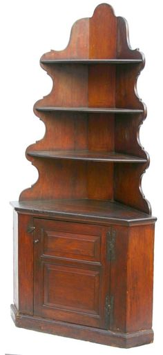 Very rare & important QA ca 1740 CT wonderfully proportioned pine corner cupboard w beautifully scalloped back, demi-lune molded shelves with plate rails & double paneled door lower section featuring orig foliated H hinges - probably the best corner cupboard we've offered