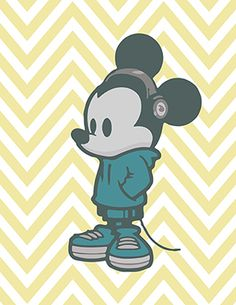 Hipster Mickey Mouse! So adorable, and cheap print on etsy! Instant Download