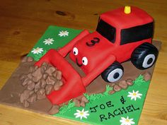 Red tractor birthday cake