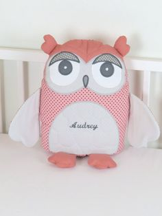 Decorative Owl Gray and Coral Owl Pillow by Customquiltsbyeva