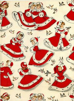 Vintage Christmas wrapping paper - snow girls in red and white