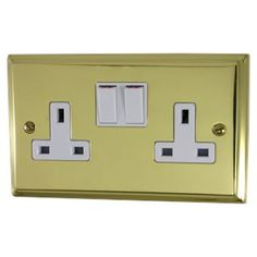 A Deco Polished Brass Double Socket (White Switches) available to buy online now at Socket Store