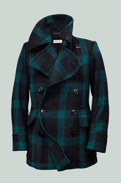 Dries Van Noten green-and-black buffalo plaid peacoat #mens #fashion >> but how do you even match this???
