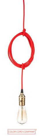 Cloth Covered Pendant Cord Set Red with Brass Socket