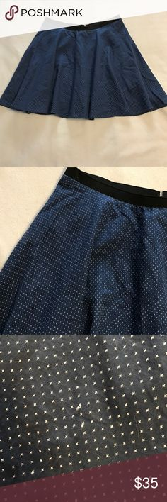 Anthropologie Corey Lynn Calter Dotted Swing Skirt Light, swingy skirt with a stitched dot pattern. One or two pulls on dots as shown. Can be pulled back through. Hidden zipper and hook and eye closure. Anthropologie Skirts Mini