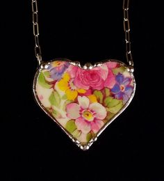Vintage Summertime chintz royal winton. Broken china jewelry heart necklace. Made from a broken china plate by Dishfunctional Designs